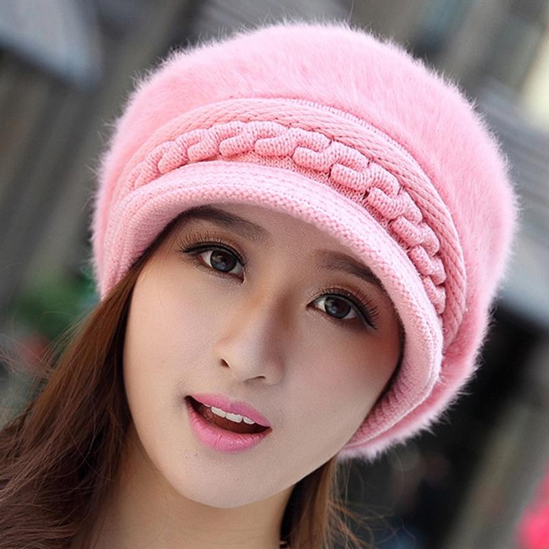 fashion hat fall winter cap wool rabbit fur knitted
