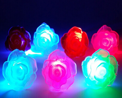 50pcs/lot fashion soft silicone flower rose led light finger ring halloween party supplies(China (Mainland))