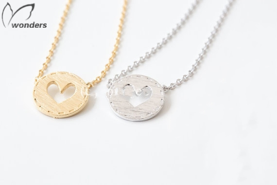 2015 Unique Jewelry Ornaments Stainless Steel Gold Silver Filled Couple Valentines Gift Heart Button Necklace For Women Men(China (Mainland))