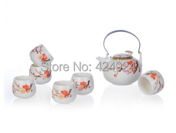 Free shipping high grade porcelain full tea sets gifts sets 6 cups with teapot customers gifs parents gifts birthday gifts(China (Mainland))