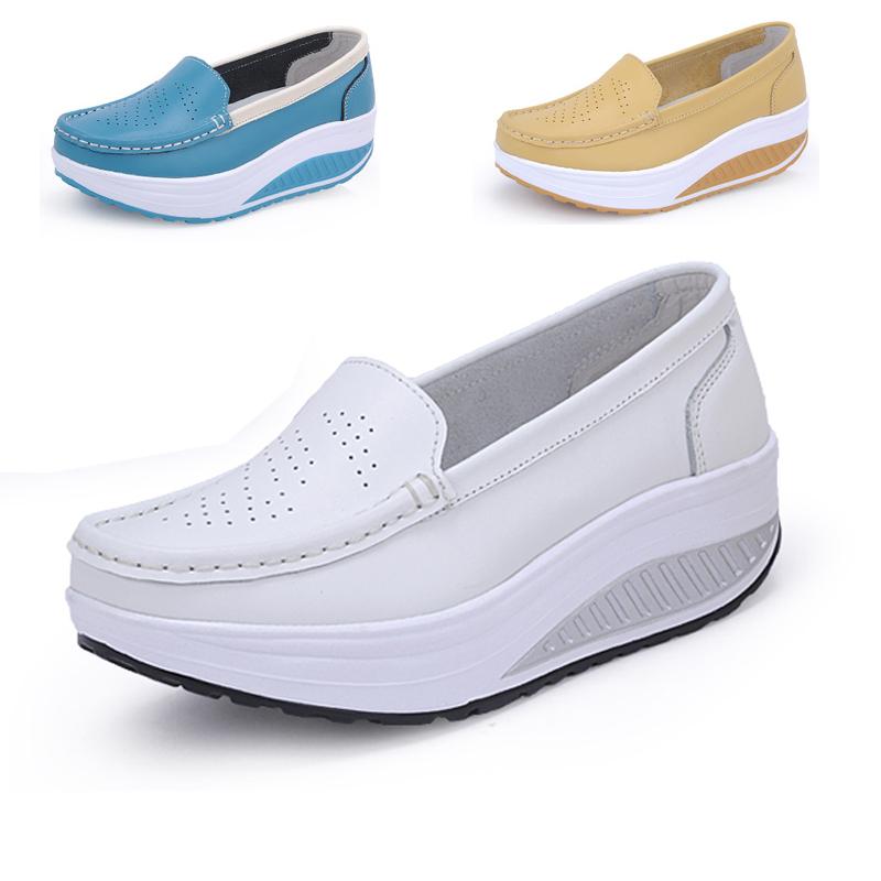 2015 spring genuine leather mother shoes swing shoes white nurse shoes slip-resistant wedges single shoes plus size platform<br><br>Aliexpress