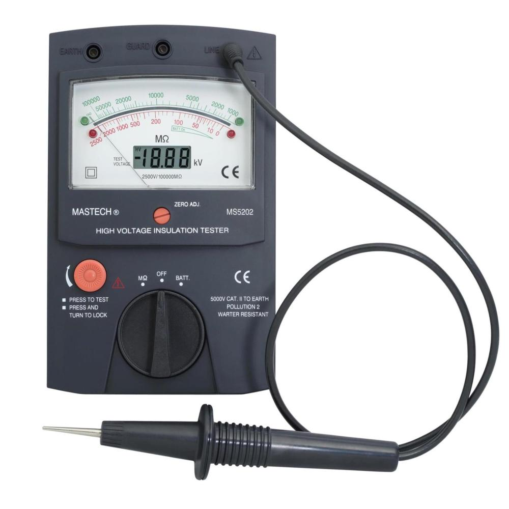 MASTECH MS5202 2500V Digital/Analogue Megger Pointer Insulation Resistance Tester Max to 100000Mohm Free shipping(China (Mainland))