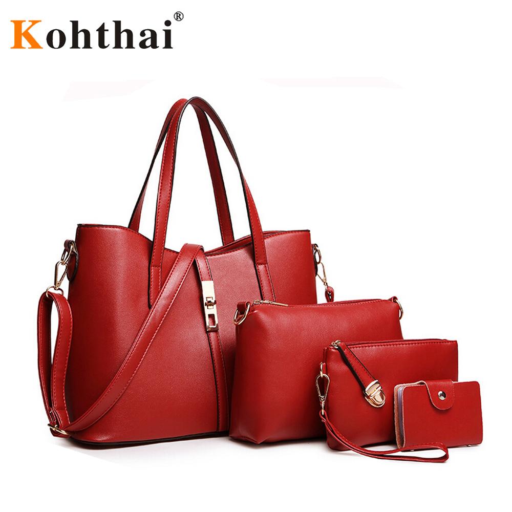 Kohthai Women Luxury Style Composite Bag Leather Handbags Messenger Bags Bolsa Feminina Purse FB299  -  J&C Bag store