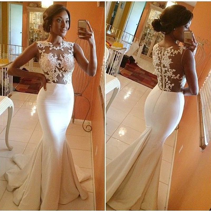 Gorgeous Prom Dresses 2016 Hot Sale Sexy White Lace Appliques Ruffles Floor Length Evening For Wedding Plus Size(China (Mainland))