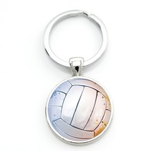 TAFREE verano encantos cabujón de cristal joyas anillo de la cadena dominante llavero mujeres de los hombres deportes de voleibol de playa mejores amigos regalos SP680(China)