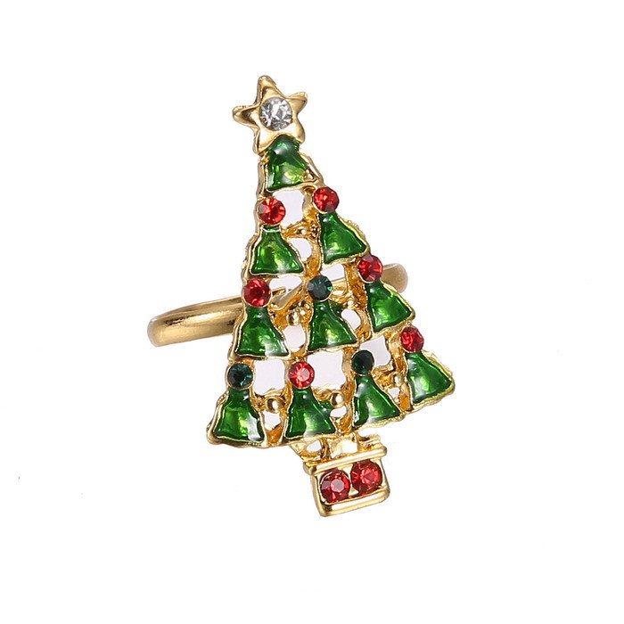Fashion Arrival Gold Plated Christmas Enamel Crystal Tree Rings ...