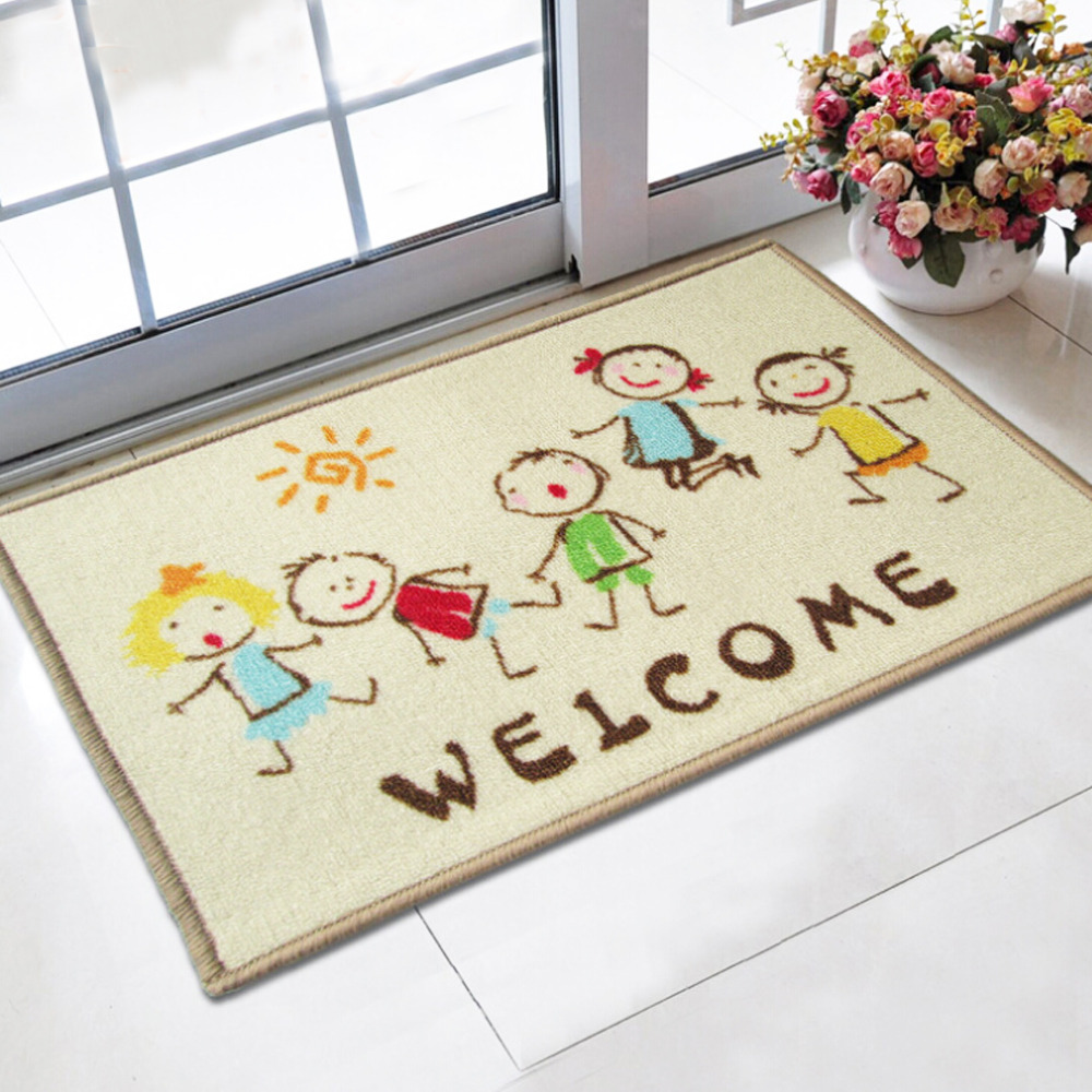 Welcome doormat 40x60cm cartoon kids printed tapetes bath for Mats for kids room