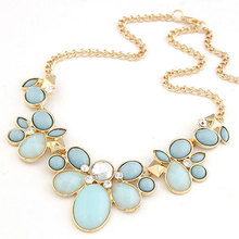 New 2015 Sweet Flower Metal Chain Necklaces Pendants Sweater Chain For Women Accessories Jewelry Choker Necklace