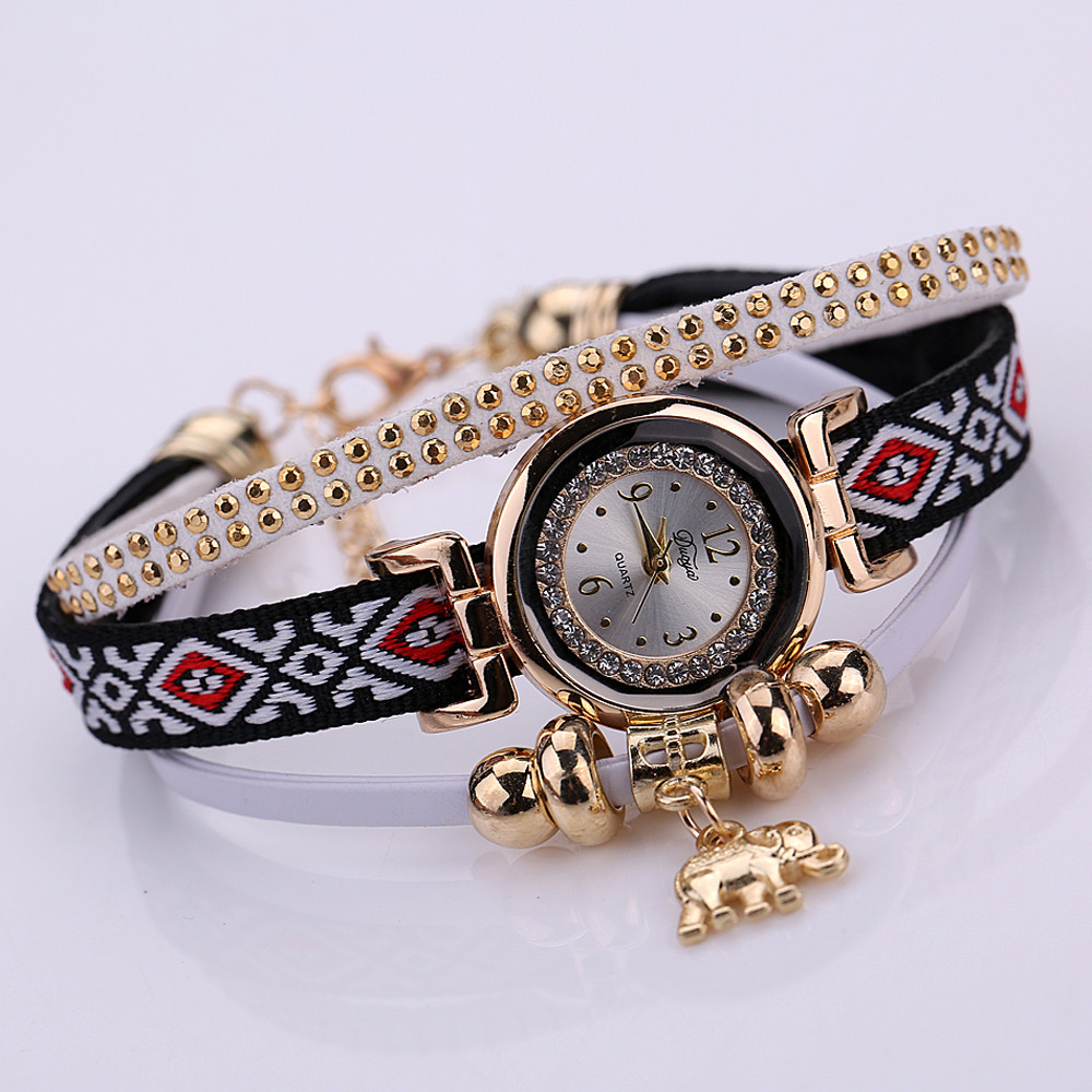 Paradise Hot Amazing Feather Weave Wrap Around Bracelet Watch  Crystal Synthetic Fashion Chain Watch Free Shipping jul26