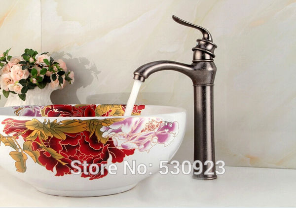 Фотография Newly US Free Shipping Oil Rubbed Bronze Red Bathroom Mixer Tap Vintage Style Sink Basin Faucet Single Handle Deck-mounted