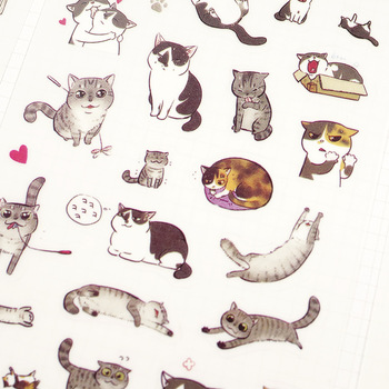 Z29 6 Sheets Kawaii Cute Funny Playing Cat DIY Decorative Stickers Diary Phone Bottle Decor Stick Label Kids Gift