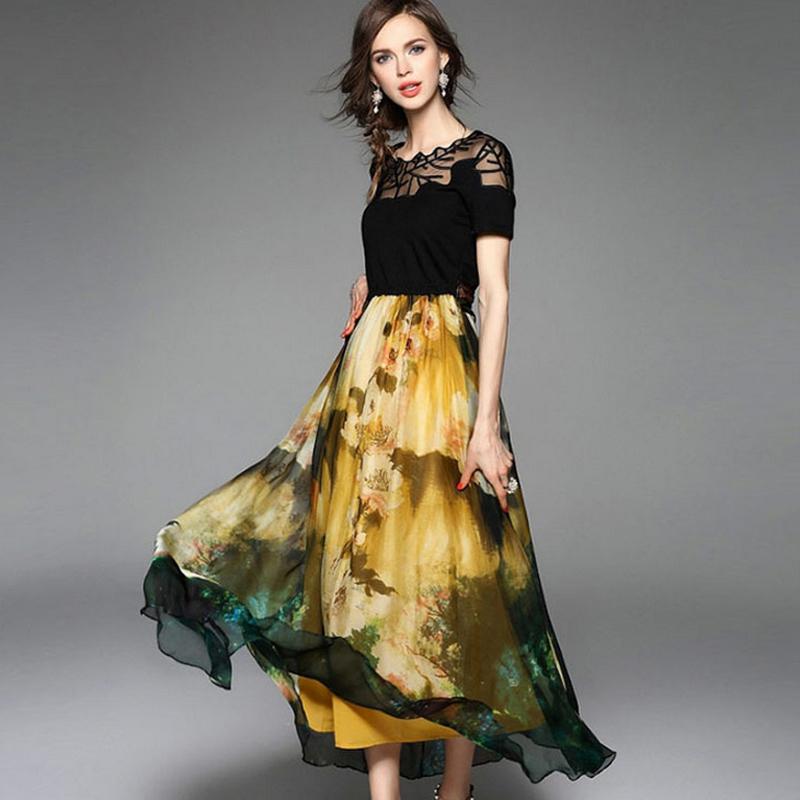 New Arrival 2016 Fashion European Style short Sleeve Slim Summer Long Casual silk Dress Women Elegant Black Lace Party Dresses(China (Mainland))