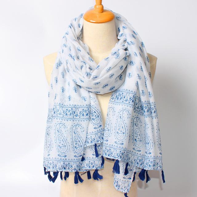 2016 Новое Прибытие Зимняя Мода Женщины Марка Дизайн Богемия Национальный ветер Большой Кешью и Пчелы Печатных Синий и белый Длинный шарф