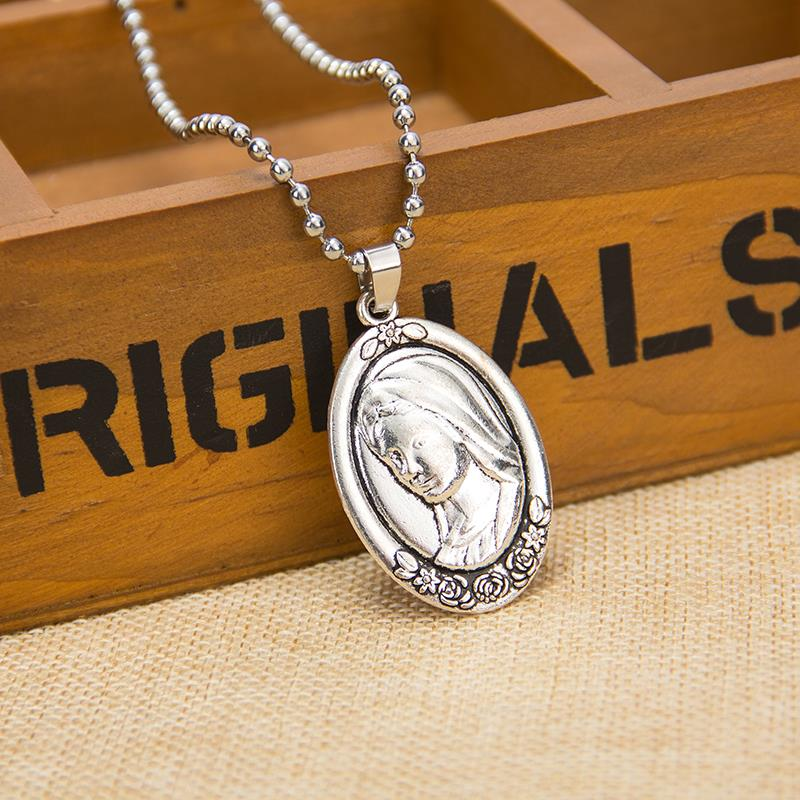 product Alloy Jesus maria like double elliptical necklace beads adorn article