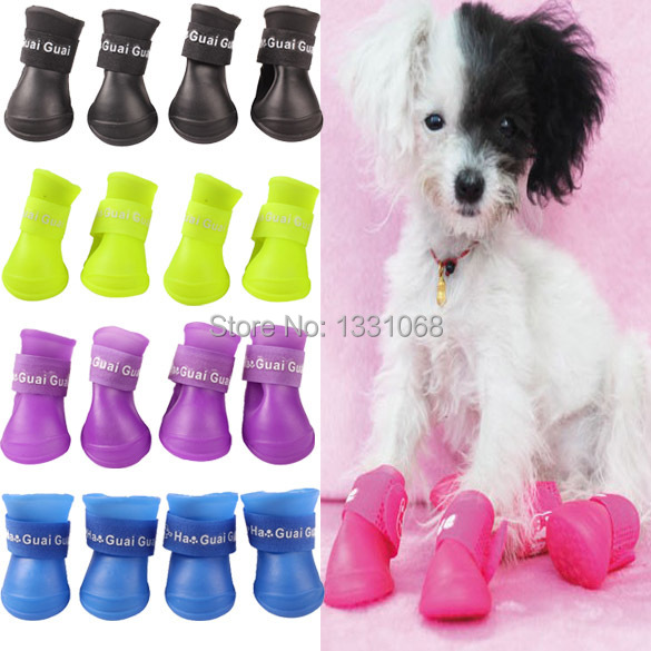 Brand new Lovely Portable Pet Dog Waterproof Boots Rain Shoes J3G#(China (Mainland))