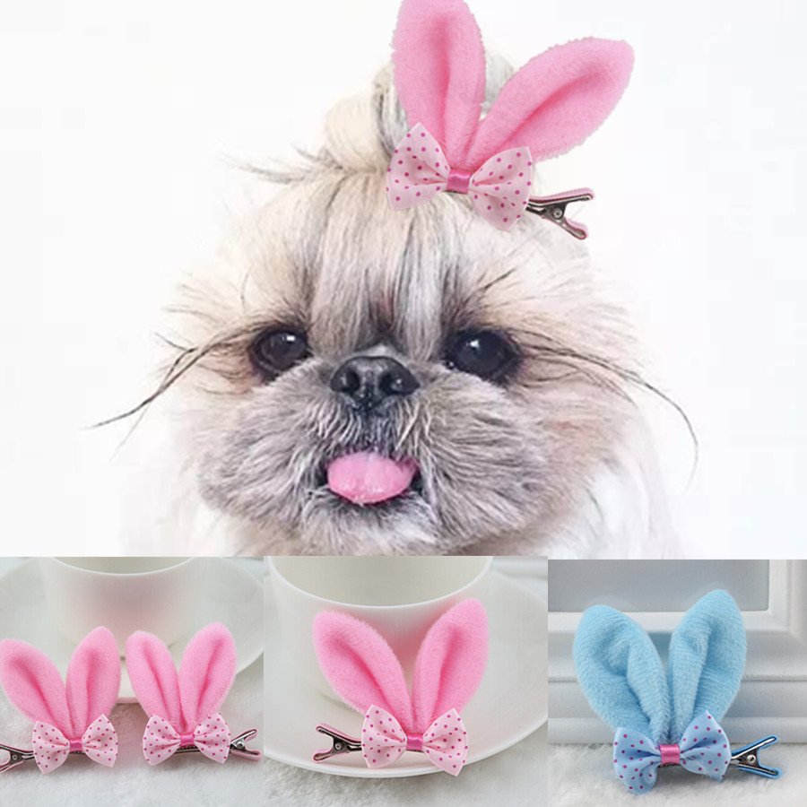 6 Pcs/lot Hair Clipper For Dogs Pet Accessories Cats Clips Dog Hairpin Pink Blue Rabbit Ear Clip Dog Hair Bows(China (Mainland))