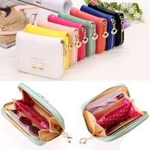 2017 High quality Brand Wallet Women Bowknot Decorate Small Purse PU Artificial Leather Wallet Female Zipper Cion Wallet(China (Mainland))