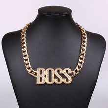 18K Gold Chain Necklace Trendy BOSS Letter Hip Hop Necklaces Pendants Fashionable Popular Jewelry For Women/Men XD11039(China (Mainland))