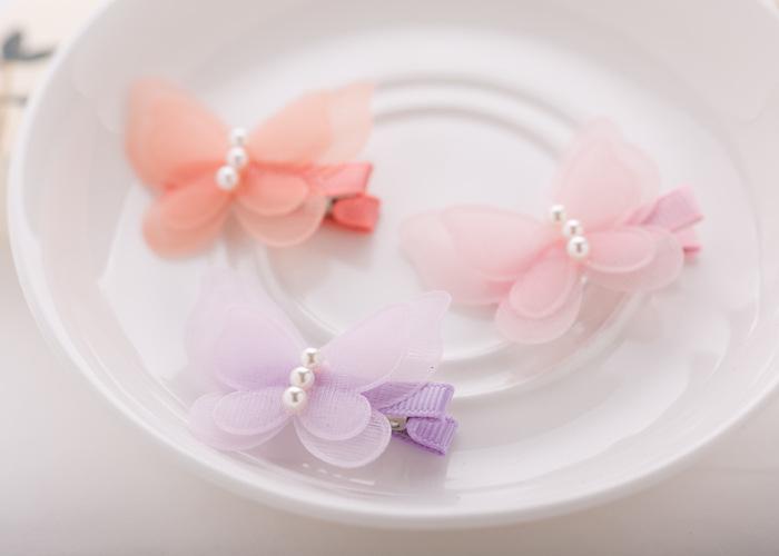 Hot Korean Sweet Cute Hair Clips Kids Girls Chiffon Butterfly Hairpins Princess Party Barrettes BB Clips Hair Accessories