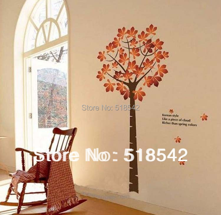 Free Shipping:Yellow Autumn Luckly Tree DIY Removable 3D Wall Art Sticker/Family Wall Decal For Room Decor 200*130cm/78''*51in(China (Mainland))