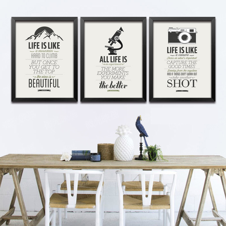 Modern poster style picture black white letter classic living room office wall decor Spray Painting Framed Mirror free shipping(China (Mainland))