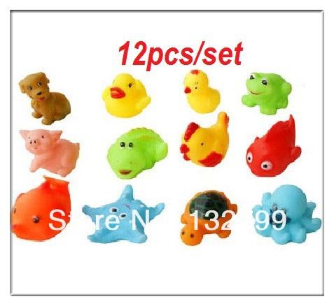 12pcs/Set Children Education Toys Bath Baby Washing Bath Toy Sound Mixed Different Animal()