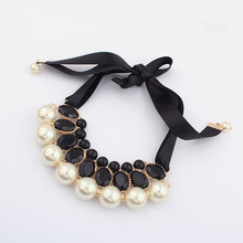 New 2015 Hot Simulated Pearl Necklace Jewelry Silk Chai Statementn Necklaces For Gift Party Wedding Engagement(China (Mainland))