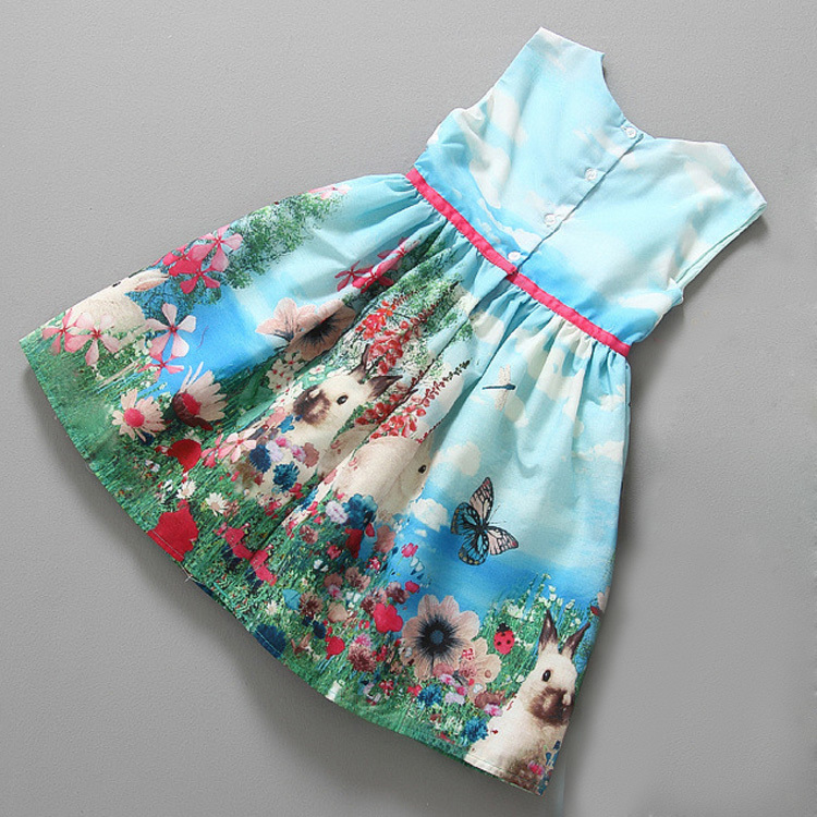 Little girls clothes Children European style tutu dress girl design print cartoon dress flower Rabbit cotton vest dresses HA245(China (Mainland))