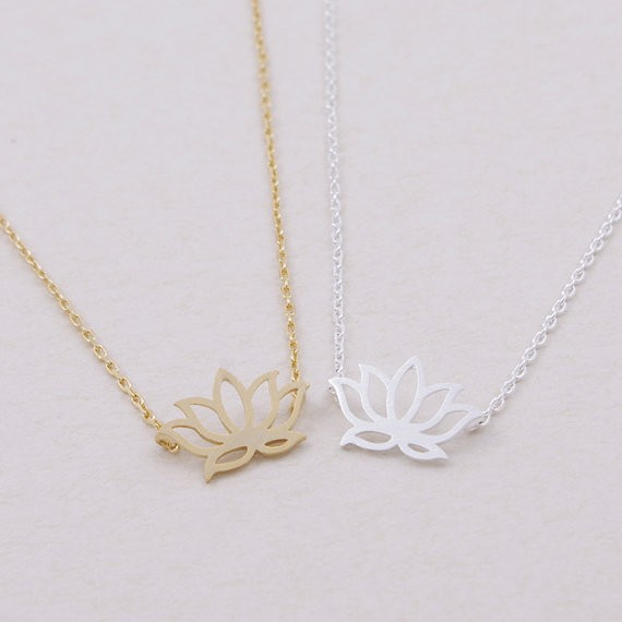Gold Silver Lotus Necklace