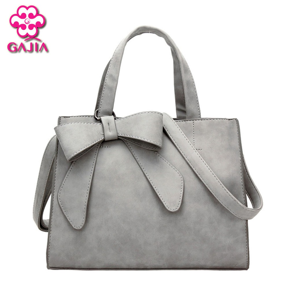 Best Selling Fashion High Quality PU Bow Vintage Women's Handbags Brands Solid Zipper Shoulder Bag Lady Online Messenger Bag(China (Mainland))