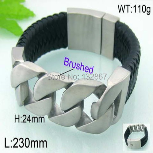 The classical style 110g Men Stainless Steel Black Genuine Leather Brushed Curb Bracelet 24mm x 9''(China (Mainland))