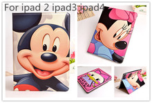 1pcs retail Cute 3D Cartoon Mickey Minnie Mouse Flip Stand PU Leather Smart Cover Case For Apple iPad 2 3 ipad 4 case cover bag(China (Mainland))