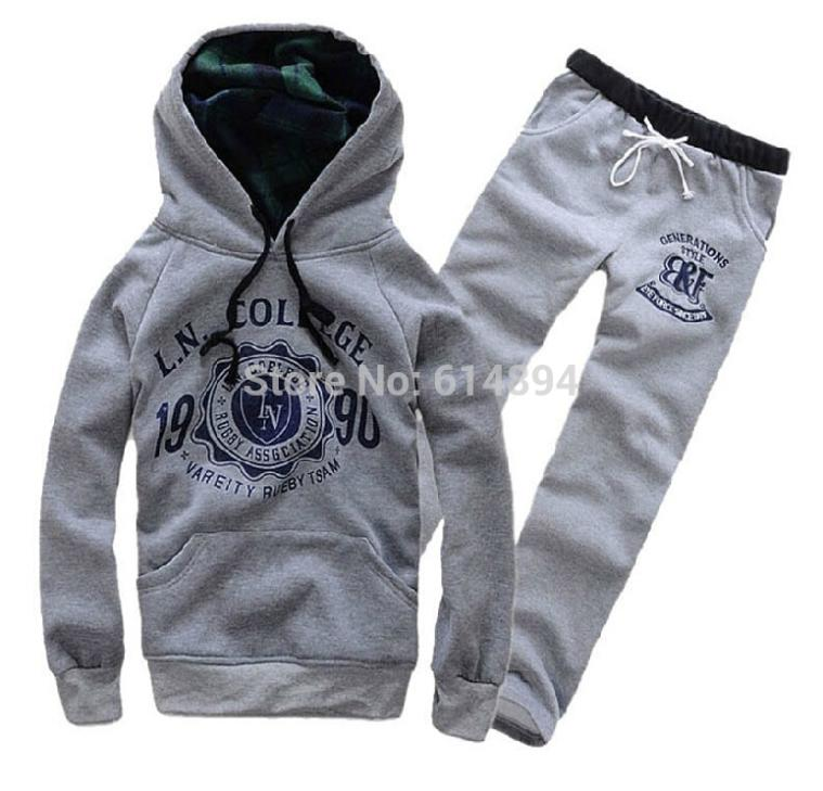 Fall and winter clothes hot sale! Warm Fleece men and women casual Hoodies Sweatshirts coat + pants couples sports suits(China (Mainland))