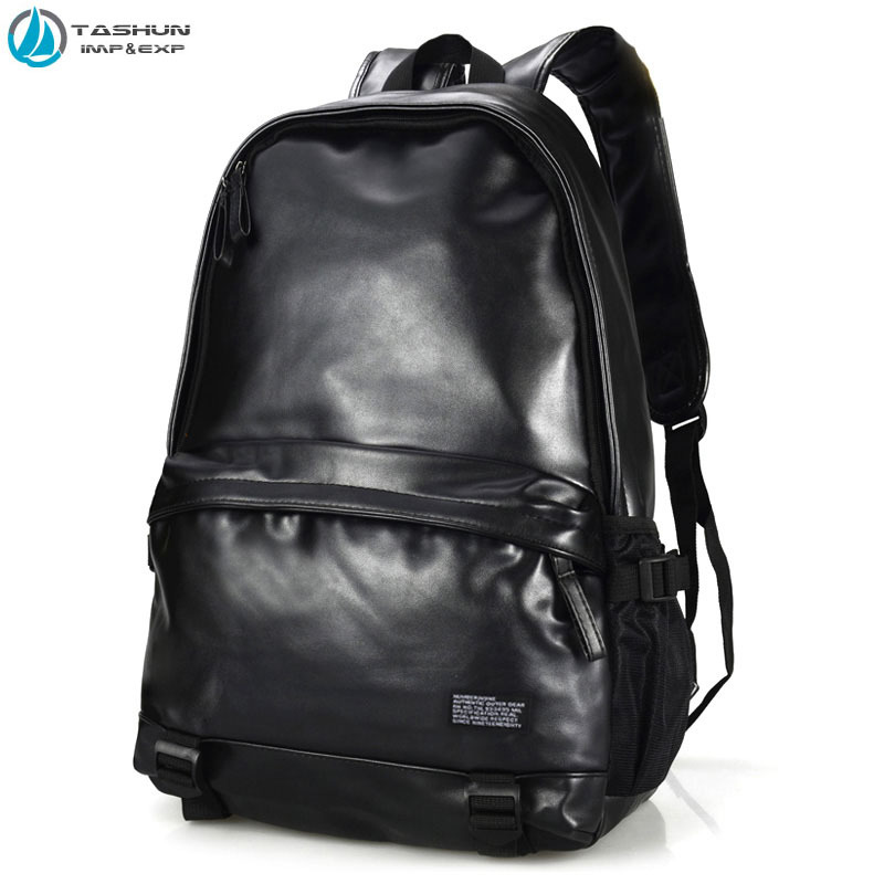 7070 Mens 15Inch PU Leather Soft Student School Backpacks Laptop Computer Shoulders Bags Waterproof Casual Travel men - WUHAN TASHUN INT'L TRADING CO.,LTD store