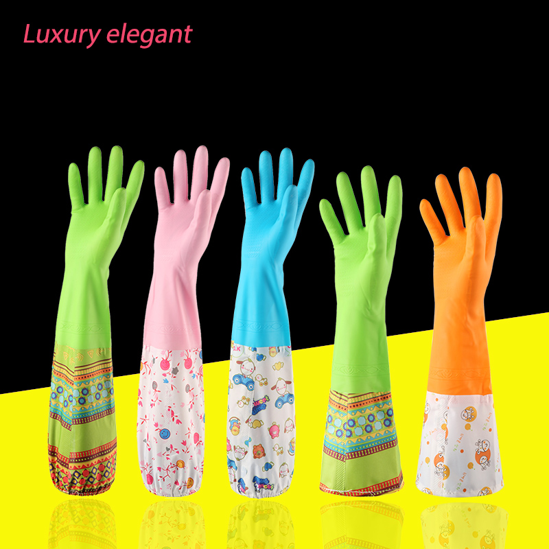 Household waterproof laundry housework gloves thicken to keep warm Dishwashing Water Dust Kitchen tools Cleaning rubber gloves(China (Mainland))