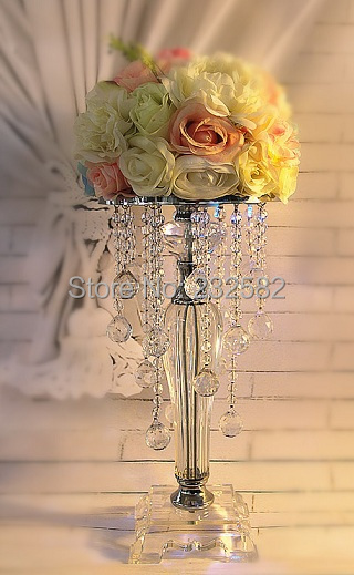 Full Crystal Wedding Centerpiece/Wedding Crystal Centerpiece/Crystal Candle Holder/Tall 38cm With Top Quality /Free Shipping(China (Mainland))