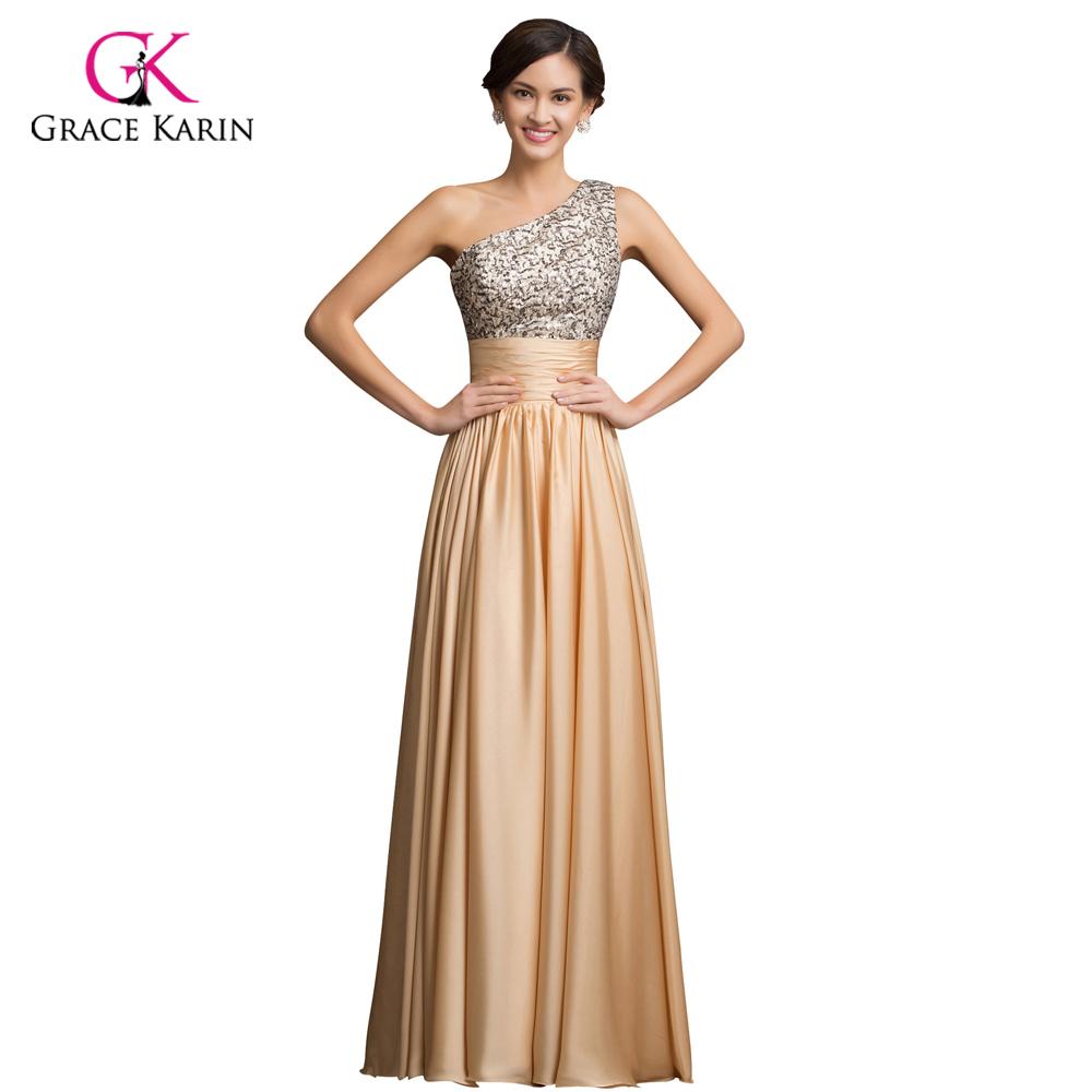 grace karin one shoulder sequin long gold evening dresses 2016 new arrival women elegant golden. Black Bedroom Furniture Sets. Home Design Ideas