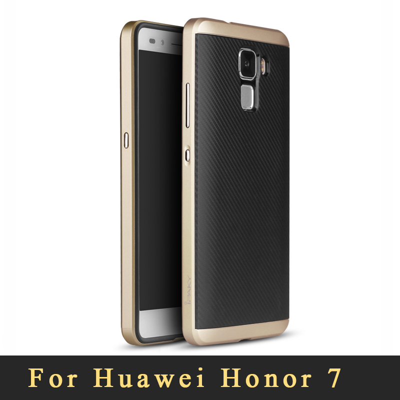 Original brand Huawei Honor 7 case Ultra-thin Armor Plastic Frame+Soft Silicone back cover cases for Huawei Honor7 Free shipping(China (Mainland))