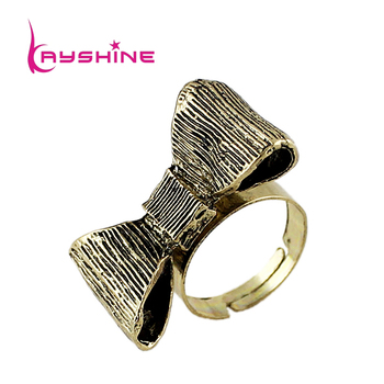 Vintage Jewelry 2015 New Designer Cute Antique Anel Gold Color Bowknot Rings For Women