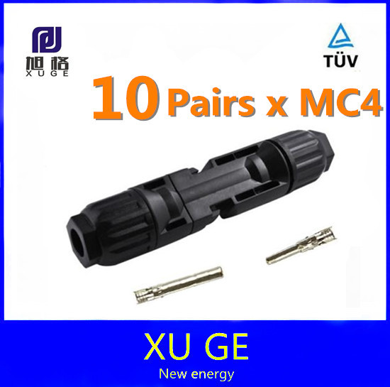10 pairs/lot MC4 Solar Panel Connector Pairs Male Female Set PV Cable Wire accessory(China (Mainland))