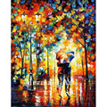hand painted Palette knife thick Art Under One Umbrella Modern Artwork of Landscape canvens Oil Painting