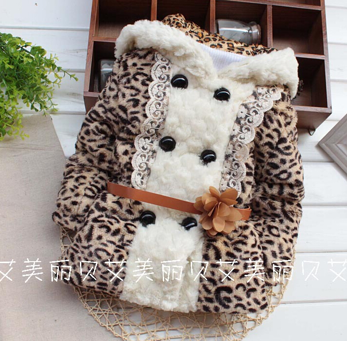 winter new fashion korean style childrens coat babys Leopard print rabbit hat with belt kids cotton-padded clothes <br><br>Aliexpress