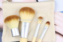 4pcs/set 4Pcs Earth-Friendly Bamboo Elaborate Makeup Brush Sets makeup brush kits tools facial brush free shipping