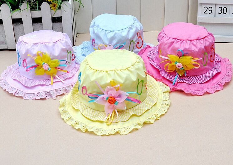 2015 Fashion Letters Flower Lace Baby Girl Hat Cotton Bucket Cap suit for 3-12month(China (Mainland))