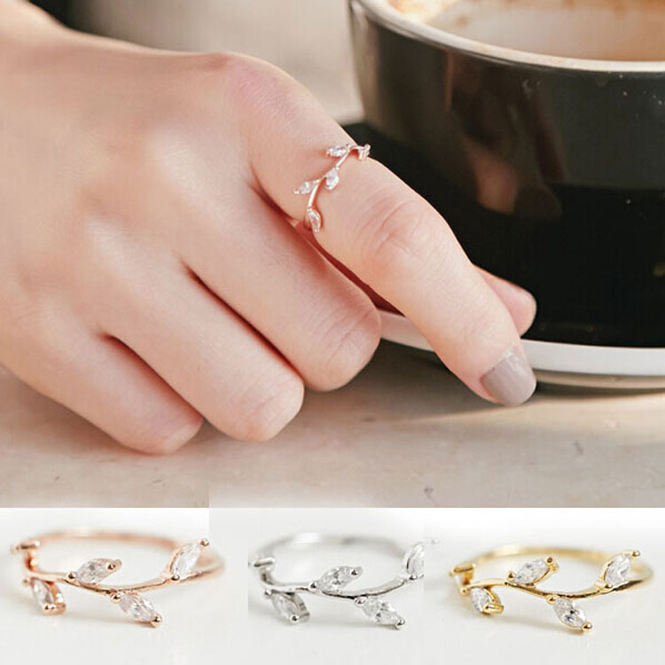 Korean Personalized Vine Leaves Rings Simple And Stylish Zircon Micro-inserts Rings Fine Women's Tail Rings Three Color Options(China (Mainland))