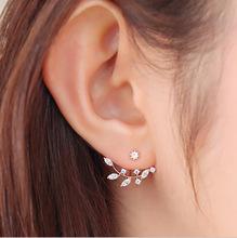 2016 New Fashion Needle Zircon Earrings Jackets For Women Leaf Gold Plated Earrings Jacket Free Shipping Elegant Jewelry(China (Mainland))