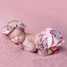 Floral Bloomer Shorts Woolen Baby Ruffle Bloomer with Diaper covered Matching Flower Headbands Newborn Photography Props(China (Mainland))