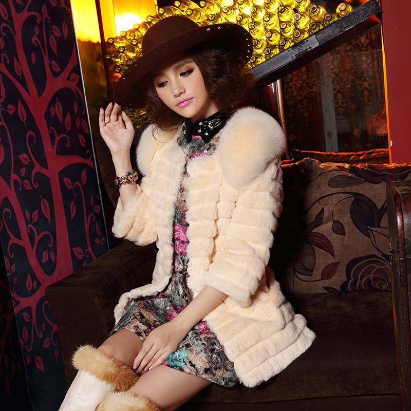 Real natural genuine full pelt rabbit fur coat with fox fur shoulder women fashion whole skin