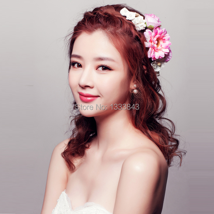 Pour flowers decorated Lianrenweiman. Sweet garland headband style simulation flower hair ornaments bride plastic insert picture(China (Mainland))