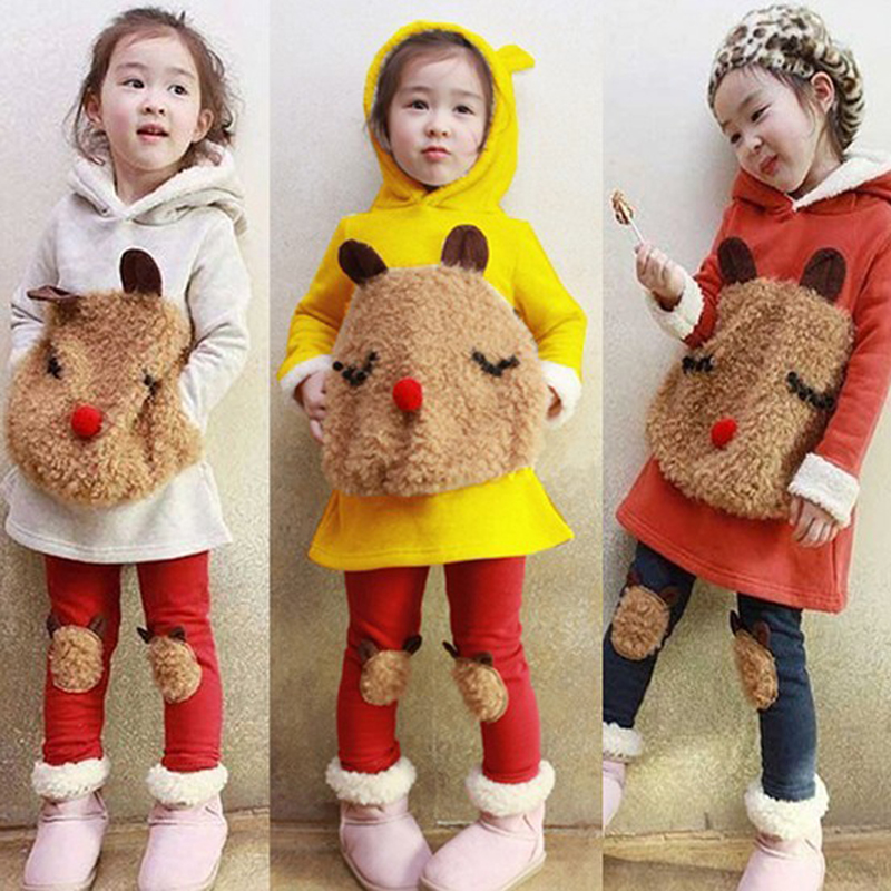 Children Kids Clothing 2016 Autumn Winter Bear Sweater Fleece Baby Set Leggings Girls Suit Clothes Leisure Warm Hoodie Pantsuits(China (Mainland))